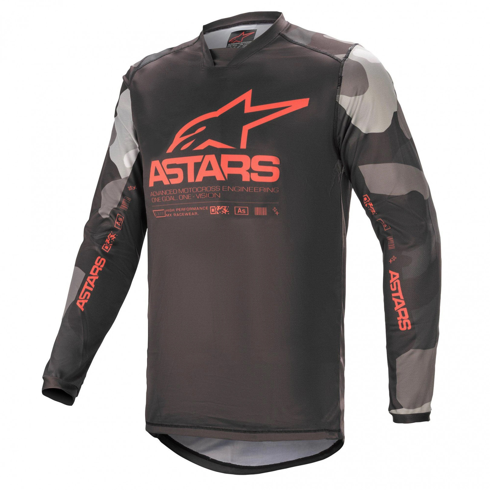 Maillot Alpinestars Racer Tactical Jersay Camo Rouge Fluo