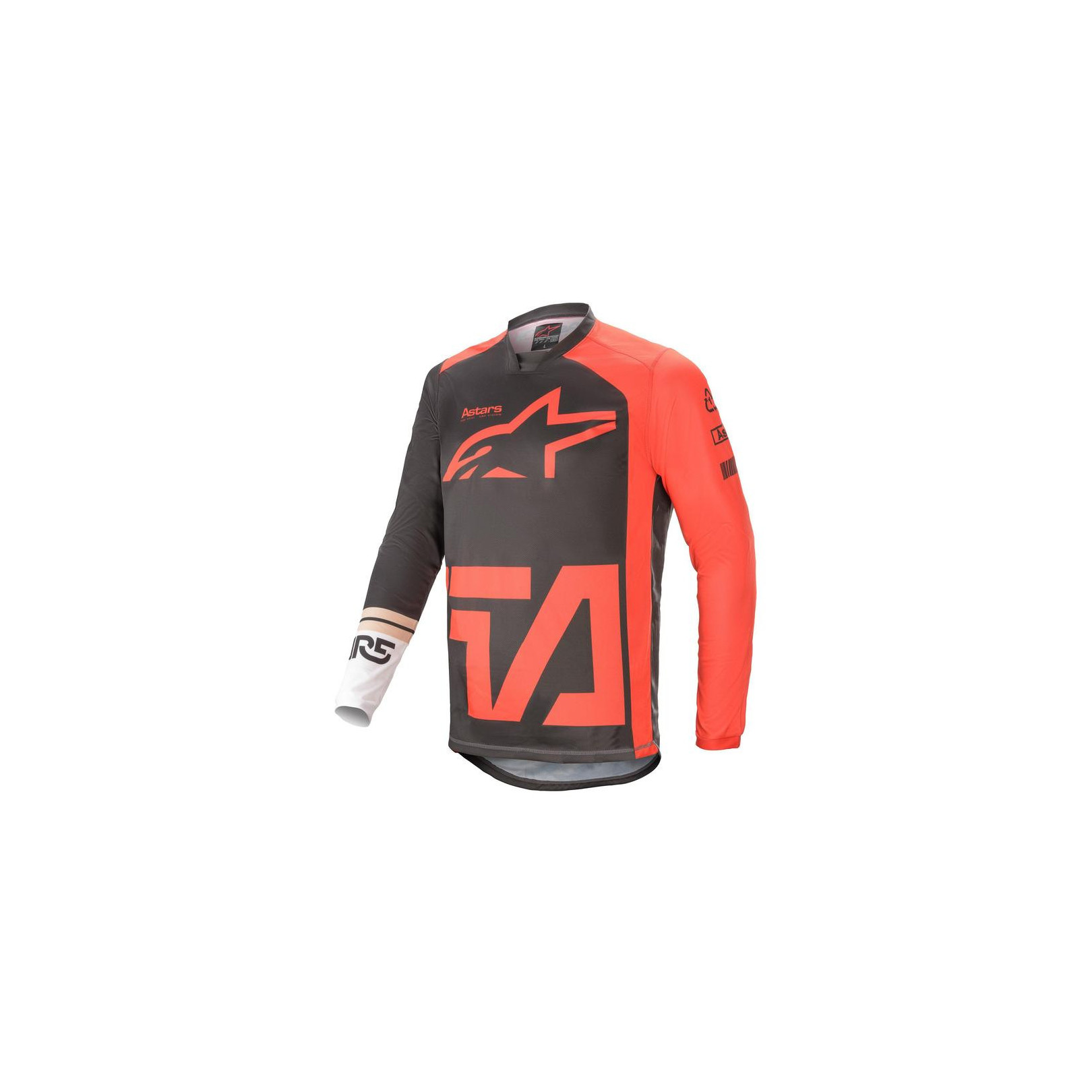 Maillot Alpinestars Racer Compass Jersey Anthracite, Rouge Fluo et Blanc